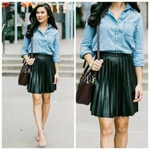 J. Crew Faux-leather pleated mini skirt
